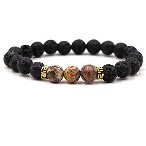 YIYIYYA Herren Armband Schwarze Lava Stein Armbänder Perlen Armband Naturstein Männer Schmuck Stretch Yoga Armband, 02.