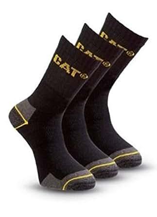 (6 Pairs) 2 x Pack of 3 Caterpillar Work Socks Cotton Mens in Black Size UK 6-11