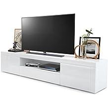 Amazonfr Meuble Tv Laque Blanc Avec Led