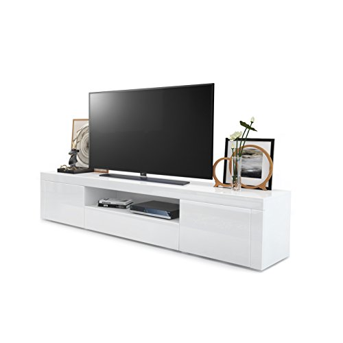 Vladon TV Board Lowboard Santiago, Korpus in Weiß Hochglanz/Fronten in Weiß Hochglanz und Weiß Hochglanz
