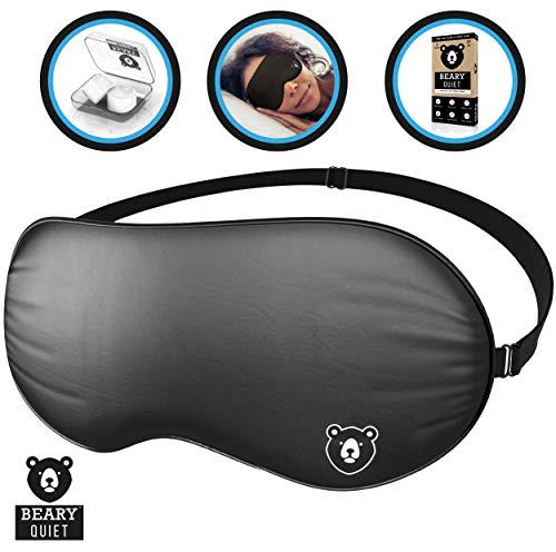 Beary Quiet Schlafmaske, ultra-weiche Seiden-Augenmaske, natürlicher Seidenstoff und Baumwoll-Füllung für besten Luxus-Schlaf, mit verstellbarem Riemen, gratis Silikon-Ohrstöpsel zum Schlafen