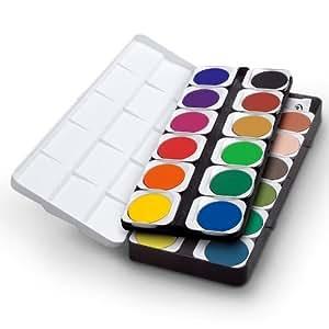 Boîte de peinture aquarelle avec 24 couleurs assorties, 1 tube gouache blanche et 15 palettes