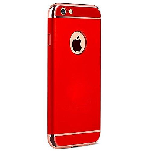 YESDA Cover,Placcatura PC Opaco Ultrasottile Antiscivolo Protettiva Rigida Cassa Bumper Shock-Absorption e Anti-Scratch 3 in 1 Case Per iPhone (iPhone 6/6S, nero) rosso