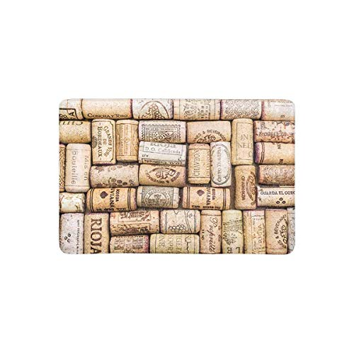 Trsdshorts Wine Corks Anti-Slip Door Mat Home Decor, Vintage Style Indoor Outdoor Entrance Doormat 23.6 X 15.7 Inches Entryway Mat Decor -