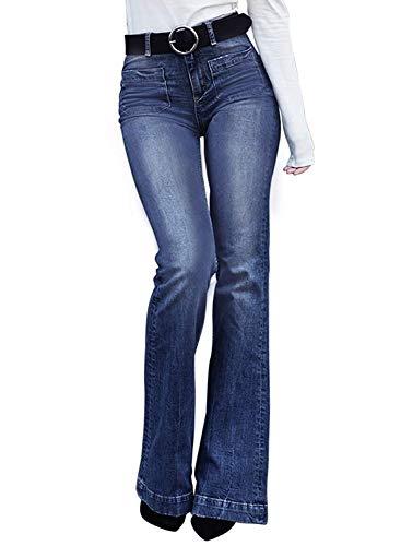 Minetom Schlaghosen Damen Jeans Hosen Stretch Skinny Destroyed Style Denim Jeanshose Retro Loch Hohe Taille Flared Pants D Blau M - Hohe Taille Skinny Jeans