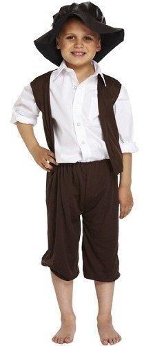 Arme Viktorianisch gassenkind Bauer büchertag Kostüm Kleid Outfit 4-12 Jahre - Schwarz, 7-9 Years (Bauer Kostüm)