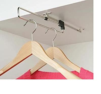 Wardrobe Pull Out Clothes Hanger Rail Organizer Rack Metal 350 mm - inexpensive UK wordrobe store.