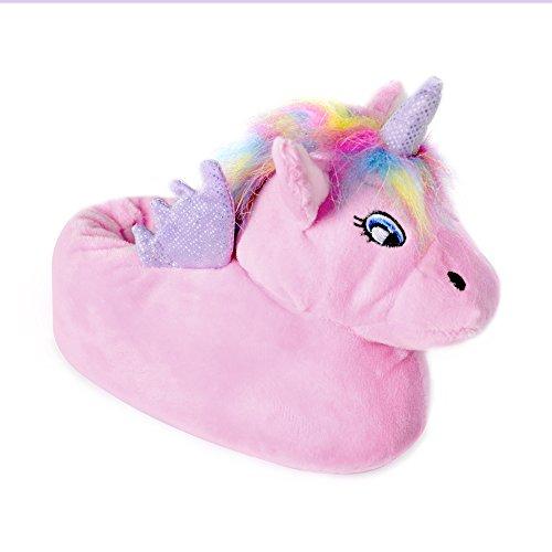 Girls Unicorn Enchanting Novelty Slippers Non-Slip Sole Soft Warm Comfortable Cute and Unisex