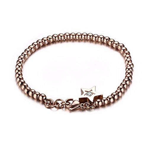 Vnox Catena delle donne in oro rosa lucido pietra della CZ della stella in acciaio inossidabile Bead braccialetto di collegamento del braccialetto,lunghezza 185 millimetri