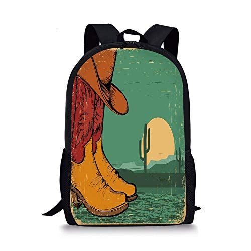 School Bags Western,Desert Landscape Vintage Boots and Hat Grungy Old Display Cowboy Decorative,Jade Green Ruby Earth Yellow for Boys&Girls Mens Sport Daypack -
