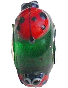 Handgefertigte grüne Glasperle, Marienkäfer, Charm-Perle, Silber, Pandora-Stil, für Charm-Armbänder