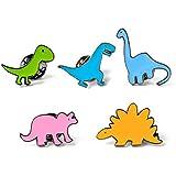 Beeria 5 PCS Funny Metal Enamel Pin Sets Badge Brooch Cute Childlike Little Animal Dinosaur Serie Cartoon Brooch Pins for Sui