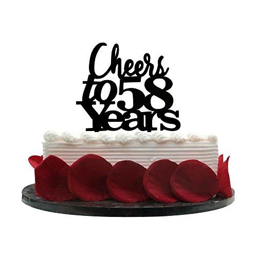 Minhero Lee Cheers bis 5858Jahren Cake Topper, Geburtstag, Hochzeit, Jahrestag, Ruhestand Party Wimpelkette Schild Dekorationen Foto Props-Black