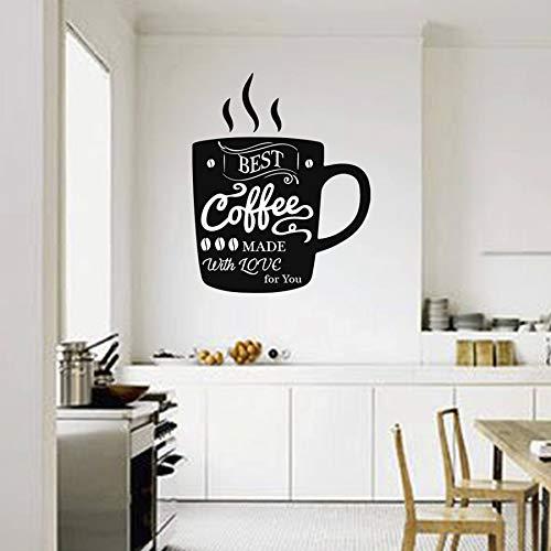 haotong11 Kaffee Wandtattoo Tasse Kaffee wandaufkleber Für Küche Home Dining Room Decor Cafe Logo Zeichen Fenster Wandkunst Wandbild 70 * 57 cm (Künstler-kaffee-tasse)