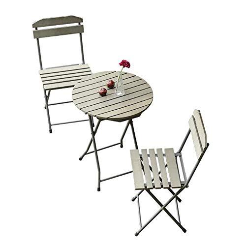 Tische 3 Stück Metall Klapptische 2-Sitzer Patio Bistro Gartenstühle Sitz Gartenstuhl Möbel Cocktail CJC (Color : 1 Table 2 Chairs) -