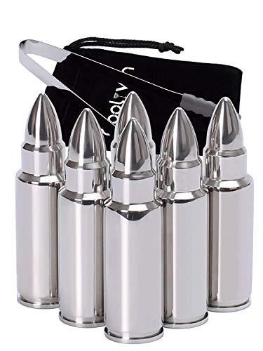 Qoolivin Bullet Form Whisky Steine Geschenk Set von 6, Edelstahl Eiswürfel Scotch Whiskey Kühlsteine mit Noneslip Gummi-Ende Tonds und Aufbewahrungstasche