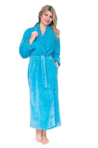 Bath & Robes Damen Bademantel aus Chenille - Blau - 3X Mehr -