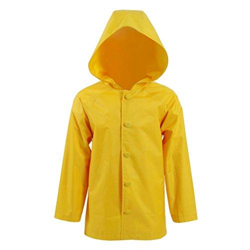 Kind Mädchen Gelb PVC Regenmantel Janue Halloween Kostüme Cosplay Jacke (Jacke Kind Halloween Kostüme)