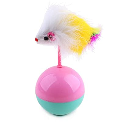 Funny Tumbler Cat Kitten Fun Interactive Toys Teaser Feather Stick Toy Chaser Wand