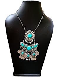 Allinsta Fancy Brass Necklace With Firoza Stone For Women & Girls \ Firoza Stone Studded Necklace Antique Jewellery...
