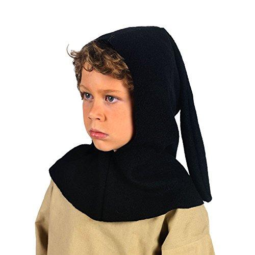 Mittelalter Gugel für Kinder schwarz mit Zipfel LARP Kleidung Zubehör - 7/9 Jahre