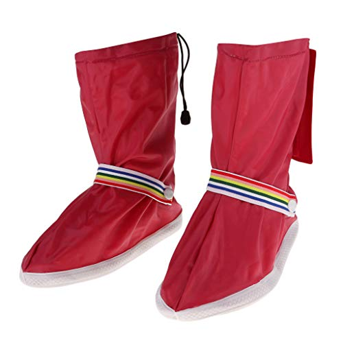 perfk Wasserdichte Regenüberschuhe Rutschfeste Regenschuhe Überziehschuhe Schuhüberzieher Outdoor Fahrrad Regenschutz - Rot 2XL