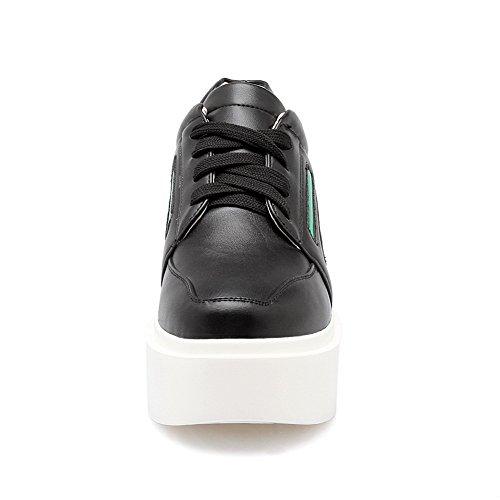 AgooLar Femme Couleurs Mélangées Pu Cuir à Talon Correct Rond Lacet Chaussures Légeres Noir