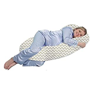 Cuddles Collection Luxury Soft Pregnancy Support Pillow, Breast Feeding Nursing Cushion - Grey Aztek
