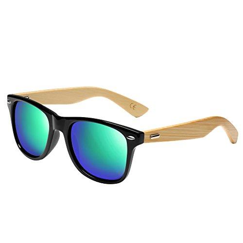 Gafas de sol de bambú, gafas de sol de madera hechas a mano, vidrios de madera de las mujeres de los hombres (verde, 1501)