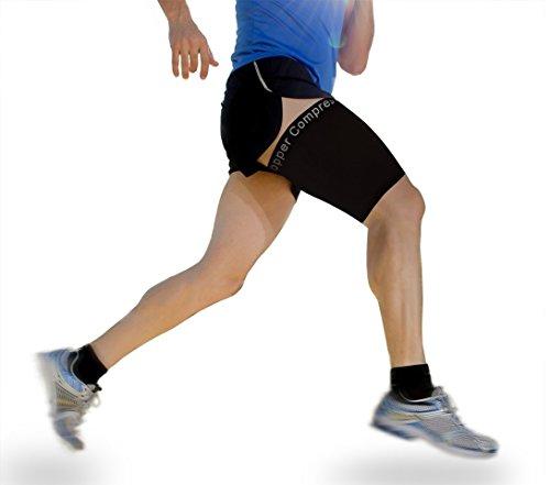 Copper Compression Oberschenkelbandage mit Kupferanteil, zur Therapie von Schmerzen am hinteren Oberschenkelmuskel, Beschwerden an der Leiste und am QuadrizepsHoher Kupferanteil.Bestens zum Laufen geeignet und für alle Sportarten.1Bandage.
