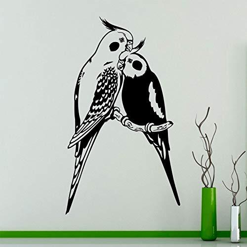 Brids Wall Art Decal Couples Parrots Exotic Birds Vinyl Sticker Home Interior Wall Art Decor Ideas Room Decoration 42 * 73cm - Interior Wall Panels