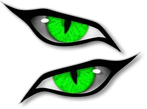 Paar Evil Eyes mit Grünem Iris Vinyl Drohne Motorrad Helm Auto Aufkleber Sticker 70x30mm Each -