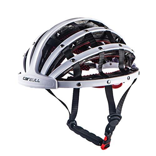 Faltbarer Fahrradhelm für Erwachsene, zusammenklappbar, ultraleicht, bequem, atmungsaktiv, Schutzkappe für Fahrrad, Sicherheitsgröße 52,5-61 cm weiß