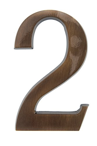 HUBER Hausnummer Nr. 2 Messing antike 20 cm, edles dreidimensionales Design