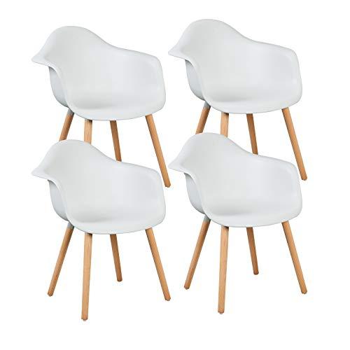 LLIVEKIT 4 xEsszimmerstühle,Schalenstuhl mit Armlehnen, 4er-Set Retro Stück Esszimmerstuhl mit Lehne Design und Holz Bein für Wohnzimmer Küche Büro Weiss -