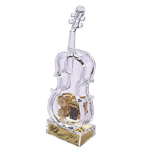 Muslady Caja de Música Forma de Violin Mecánico Liquidación Melodía Transparente Cumpleaños Navidad Año Nuevo Festival Musical Regalo