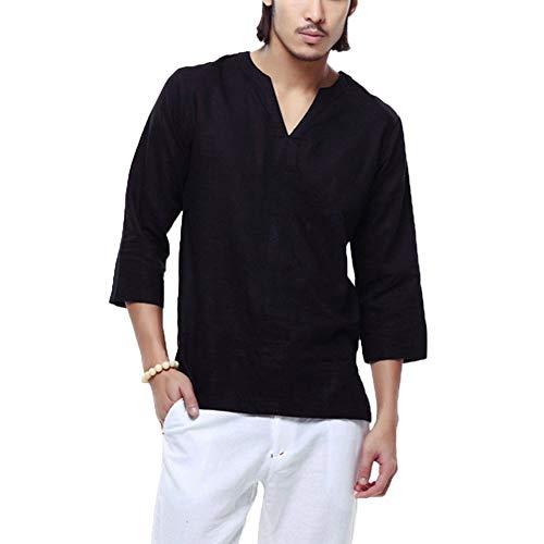 Bettwäsche-paket (Herren Casual Einfarbig V-Ausschnitt 3/4 Ärmel Lose Kragenlose Baumwolle Leinen T-Shirt Tops Bluse (XXL, schwarz))