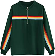 LOPELY Womens Rainbow Print Half Zip Up Pullover Tops Long Sleeve Plain Sweatshirt Premium Quality Jumpers Plu