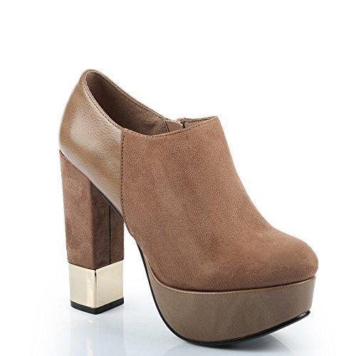 Ideal Shoes–Stiefelette Keilabsatz Dick Bi-Material mit Schwerpunkt Metallic Menda Beige - Beige