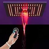 con miscelatore colonna doccia soffione pioggia in acciaio Sistema Doccia Antiscottatura Set doccia a LED con controllo della temperatura della luce a spruzzo in acciaio inossidabile 400 * 400-rosso