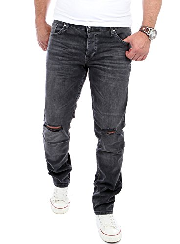 Reslad Jeans-Herren Cut Off Knee Slim Fit Denim Destroyed Jeans-Hose RS-2070 W36 / L32 (Cut-off-denim)