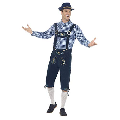 (Bellelove❤ Herren Oktoberfest Bekleidung 3er Set, Hut Bib Karo Hemd 4-teilig Halloween Nightclub Bar Denim Set)