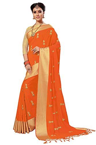 Nivah Fashion Damen Seide bestickt Saree mit Bluse (K760) Gr. One size, Orange -