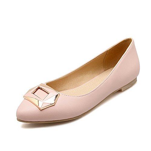 AgooLar Damen Ziehen Auf Spitz Zehe Ohne Absatz Pu Leder Rein Flache Schuhe Pink