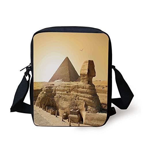 CBBBB Ancient Decor,Egyptian Pyramids Famous Great Landmark Wonders of The World Heritage View,Sand Brown Print Kids Crossbody Messenger Bag Purse