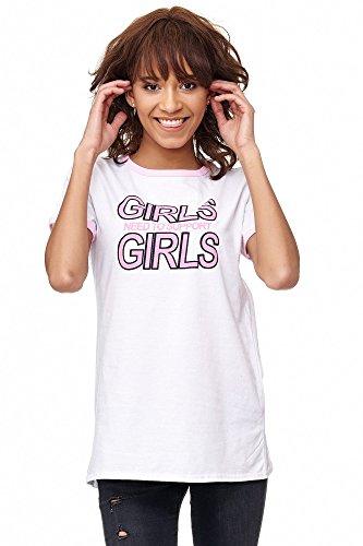 Loomiloo Tshirt Shirt Girls Support Girls Frontprint Damen T-Shirt Top Oberteil Weiß