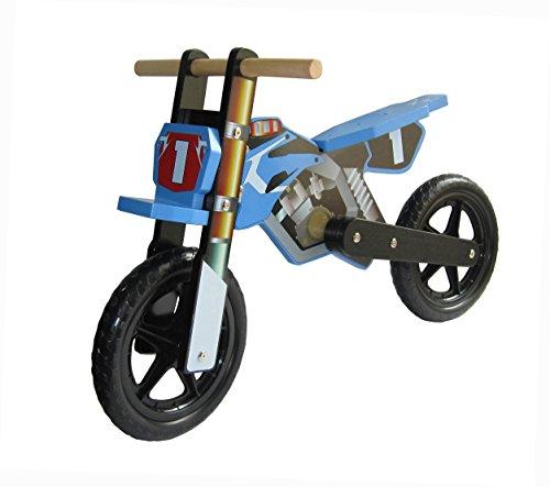 Dunjo® Holz Motorrad Laufrad Cross Pro Blau | Ab 2 Jahren | Für Jungen Und Mädchen |
