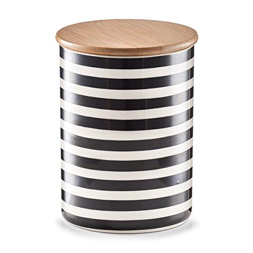 Zeller 19824 Vorratsdose mit Bamboodeckel Stripes, Keramik, Schwarz/Weiß, 11.5 x 11.5 x 15 cm