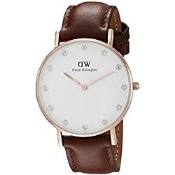 Daniel Welington Women's Quartz Watch with White Dial Analogue Display and Brown Leather Strap 0950DW