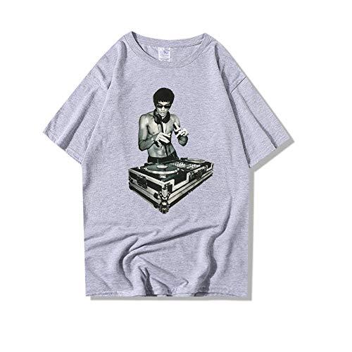 Sportswear-MZ Street Männer japanischen Filmdruck J Musik Lee Langes kurzärmeliges Baumwollhemd-grau_XXL